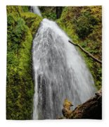 Wahkeena Falls At Footbridge, Oregon Fleece Blanket