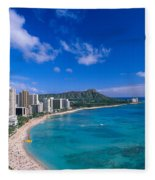Waikiki And Diamond Head Fleece Blanket