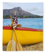 Waikiki Canoe Paddles Fleece Blanket