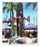 Waikiki Statue - Duke Kahanamoku Fleece Blanket