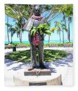 Waikiki Statue - Prince Kuhio Fleece Blanket
