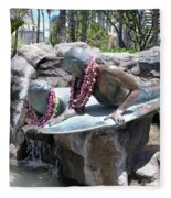 Waikiki Statue - Surfer Boy And Seal Fleece Blanket