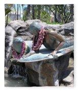 Waikiki Statue - Surfer Boy And Seal Fleece Blanket