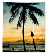 Waikiki Sunset Fleece Blanket