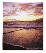 Wailea Beach At Sunset Fleece Blanket