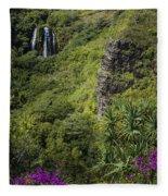 Wailua Falls And Tropical Plants Fleece Blanket