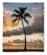 Waimea Beach Sunset - Oahu Hawaii Fleece Blanket