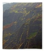Waimea Canyon On A Misty Day In Kauai Fleece Blanket