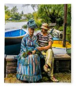 Waiting By The Boats Fleece Blanket