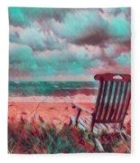 Waiting For Sunrise In Aqua And Peach Fleece Blanket