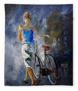 Waking Aside Her Bike 68 Fleece Blanket