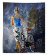 Waking Aside Her Bike 68 Fleece Blanket