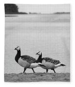 Walk On The Beach. Barnacle Goose Fleece Blanket