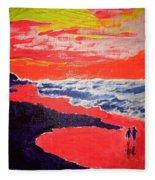 Walk On The Beach Fleece Blanket