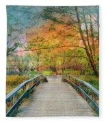 Walk To The Lake In Watercolors Fleece Blanket