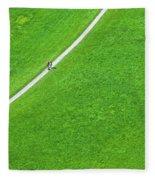 Walking Footpath In A Green Field Fleece Blanket