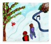Walking Home From School Fleece Blanket