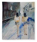 Walking In The Street Fleece Blanket