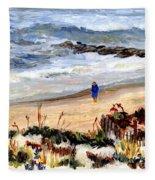 Walking The Beach On Long Beach Island Fleece Blanket