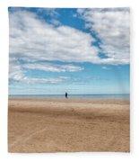 Walking The Dog On The Beach Fleece Blanket