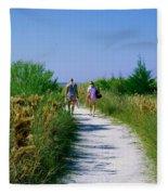Walking To The Beach Fleece Blanket