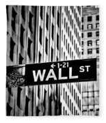 Wall St Sign New York In Black And White Fleece Blanket