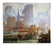 Wall Street Ferry Ship Fleece Blanket