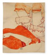 Wally In Red Blouse With Raised Knees Fleece Blanket