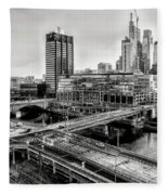 Walnut Street City View In Black And White Fleece Blanket