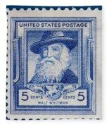 Walt Whitman Postage Stamp Fleece Blanket