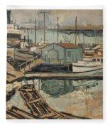 Walter  E  Schofield 1867-1944 Dock With Shed Fleece Blanket
