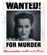 Housewife Wanted For Murder - Ww2 Fleece Blanket