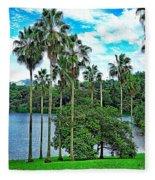 Waokele Pond Palms And Sky Fleece Blanket