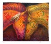 War Horse And Peace Horse Fleece Blanket