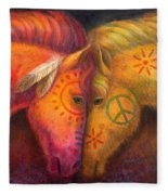 War Horse And Peace Horse Fleece Blanket