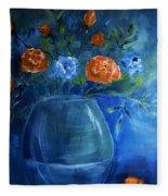 Warm Blue Floral Embrace Painting Fleece Blanket