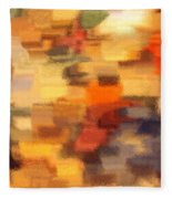 Warm Colors Under Glass - Abstract Art Fleece Blanket