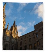 Warm Sun Glow On The Cathedral Of Barcelona Fleece Blanket