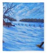 Warm Winter Barn Fleece Blanket