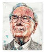 Warren Buffett Portrait Fleece Blanket