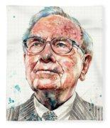 Warren Buffett Portrait Fleece Blanket