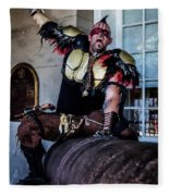 Warrior On A Cannon - New Orleans Fleece Blanket
