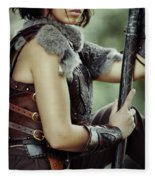 Warrior Princess In Battle Fleece Blanket