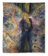 Warrior Woman Lean In Fleece Blanket