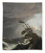 Warships In A Heavy Storm Fleece Blanket