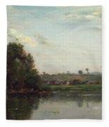 Washerwomen At The Oise River Near Valmondois Fleece Blanket