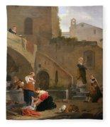 Washerwomen By A Roman Fountain Fleece Blanket