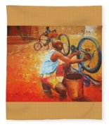 Washing My Bike Fleece Blanket