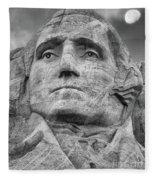 Washington And Setting Moon Bw Fleece Blanket