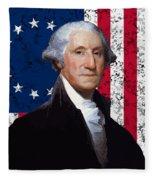 Washington And The American Flag Fleece Blanket